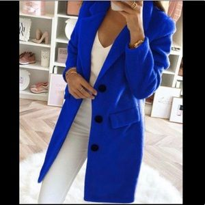 Royal Blue button Coat PLUS SIZE ALSO